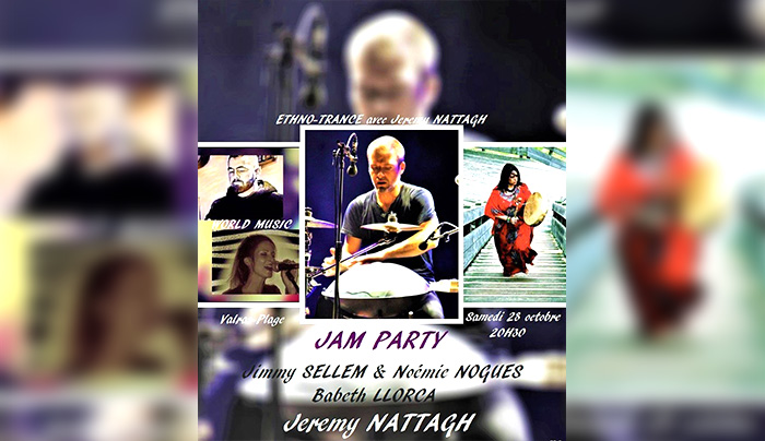 Concert jeremy nattagh ethno trance Valras Plage hang handpan multiman